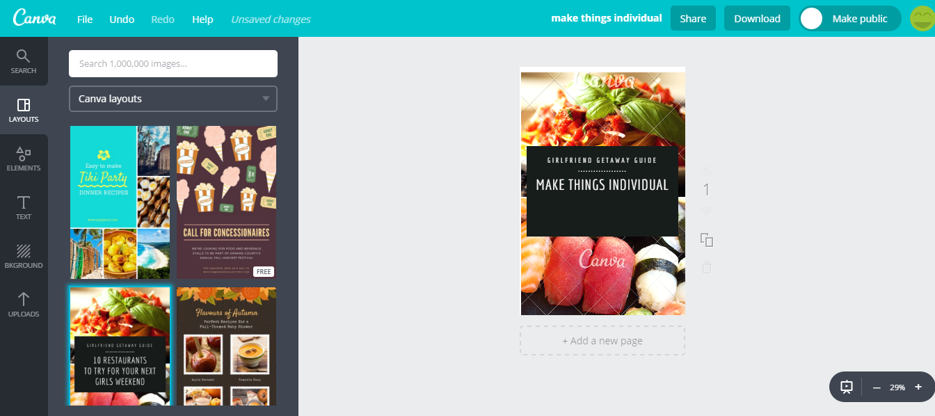 Canva graphics creation tool
