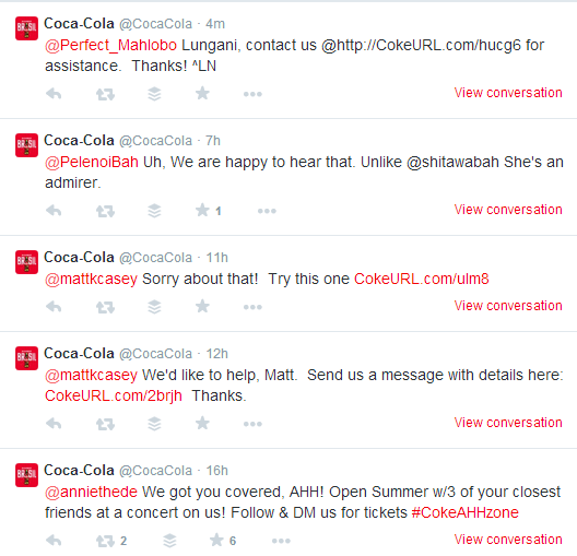 Coca-Cola Twitter Engagement With Customers