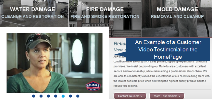 Customer video testimonial on the homepage of a website