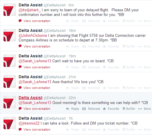 DeltaAssist Twitter Engagement With Customers