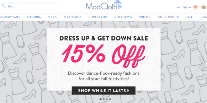 Modcloth.com homepage using sliding carousel