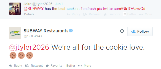 Example Twitter Conversation With The Use Of Emoticons By @Subway