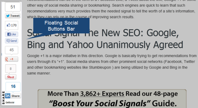 Sample of Floating Social Share Buttons Bar