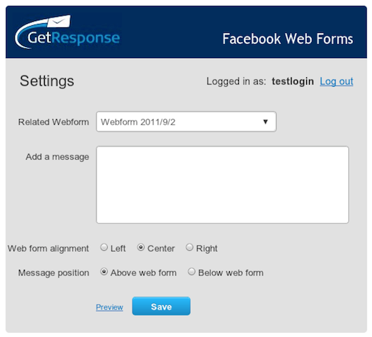 GetResponse Settings Page