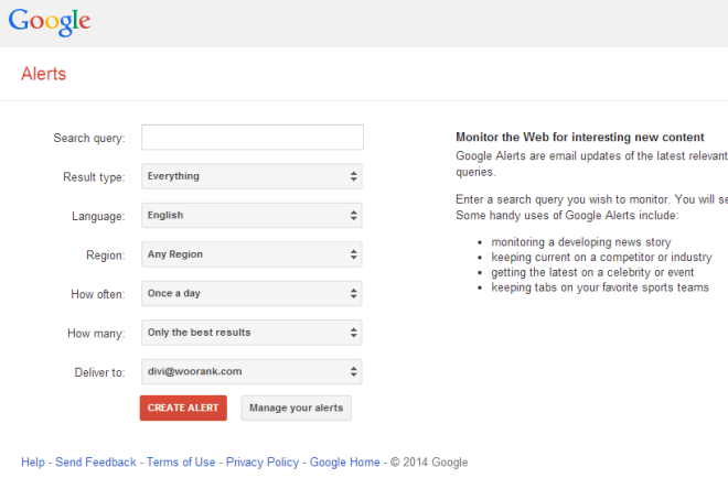 Google Alerts Free Local SEO Tool