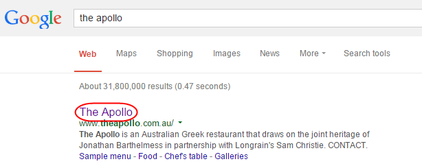 Google search first result for brand name