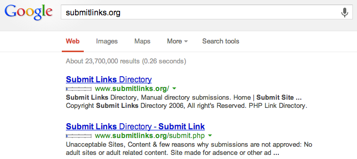 Google Search for submitlinks.org