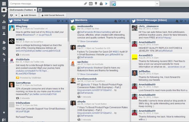 Hootsuite social media management dashboard