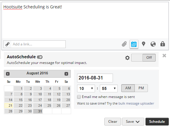 Schedule Tweets Option On HootSuite Free Twitter Tool