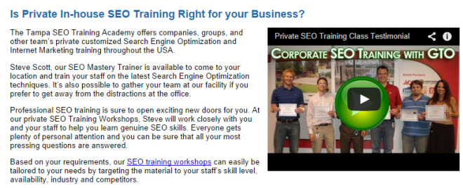 In-House SEO Training