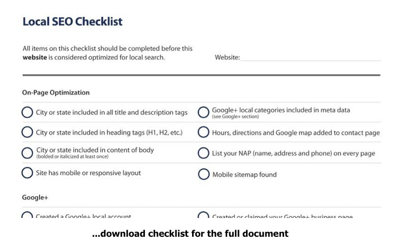 Free Local SEO Checklist From 51Blocks.com