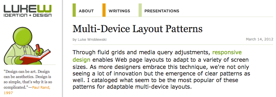Multi-Device Layout Patterns for Responsive Website Design