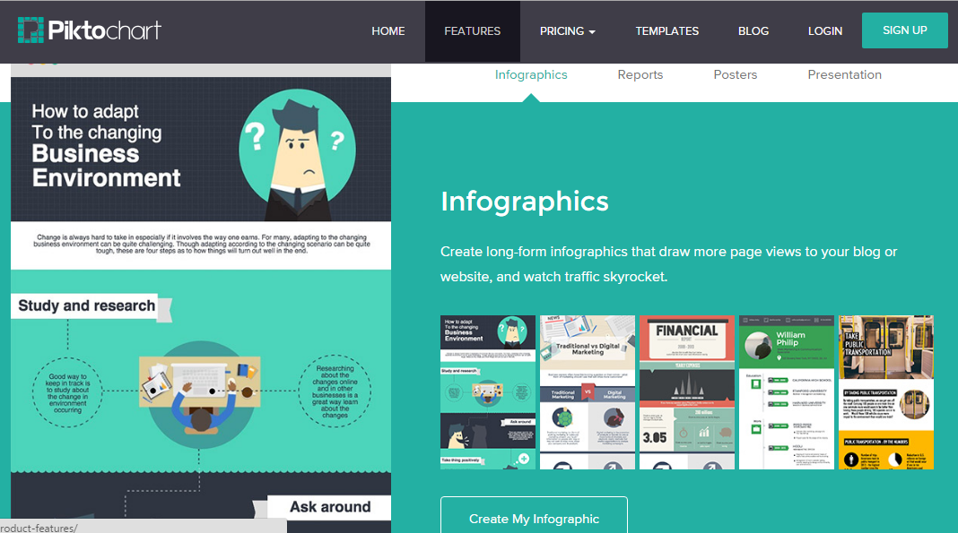 Piktochart for the creation of eye-catching infographics
