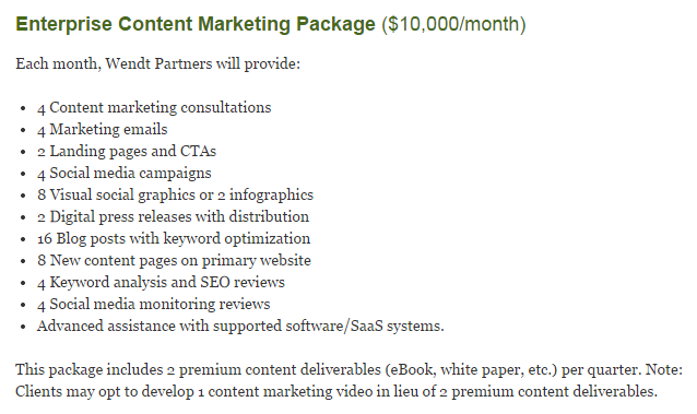 Sample Content Marketing Package