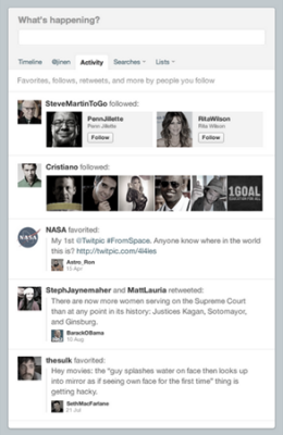 Sample of Twitter Activity Feed on a Website