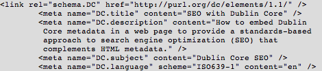 Sample XHTML Format of Dublin Core Metadata