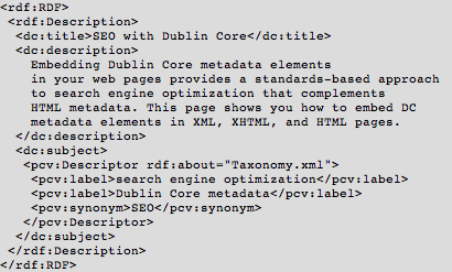 Sample XML Format of Dublin Core Metadata