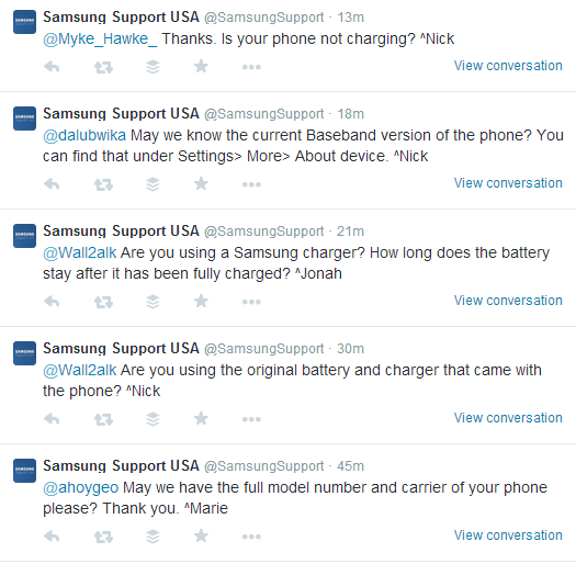 Samsung Support USA Twitter Engagement With Customers