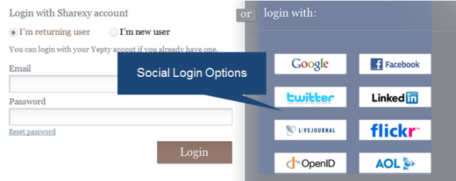 Social Login Options Sample 1
