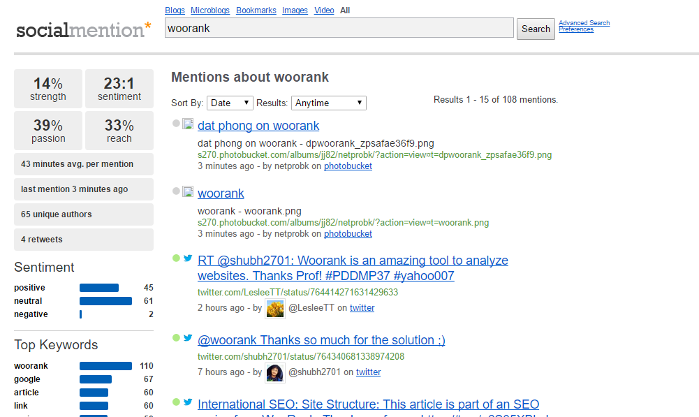 Socialmention platform displaying results for a search on Woorank