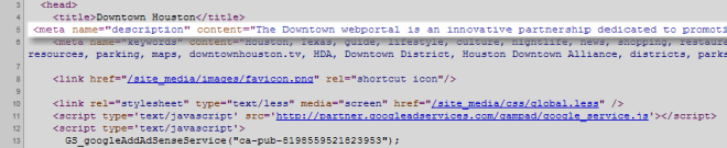 Source Code View Of Meta Description Of Sample Site From Search Snippet Screenshot Above