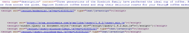 Source Code View Of Meta Description Of Sample Site From Search Snippet Above