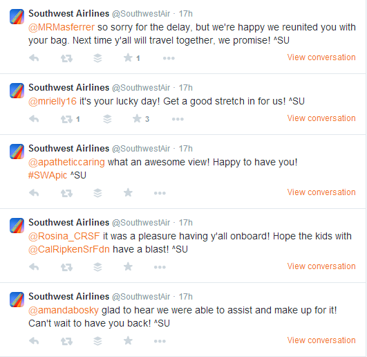 SouthWest Airlines Twitter Engagement With Customers