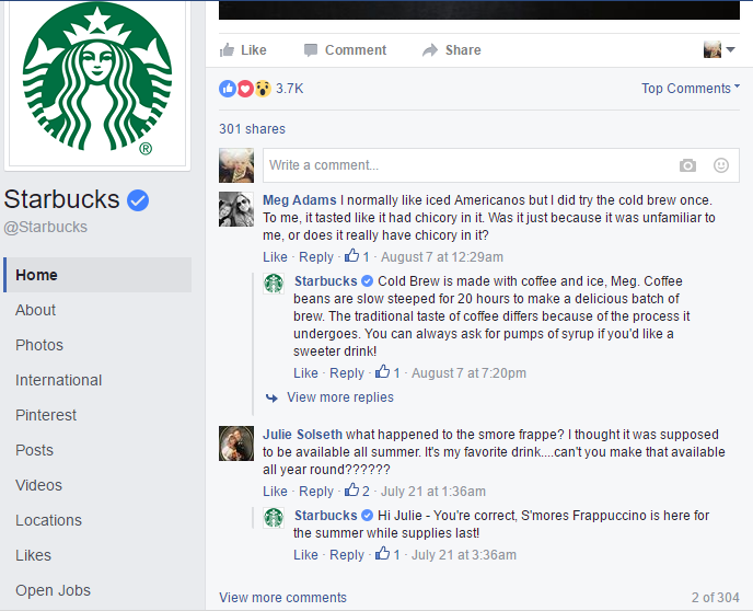 Starbuck's Facebook post
