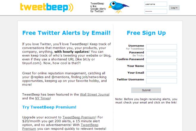TweetBeep Free Twitter Tool