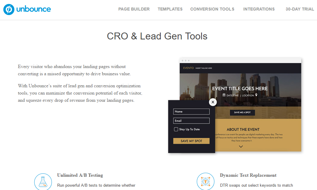 Unbounce conversion optimization tool