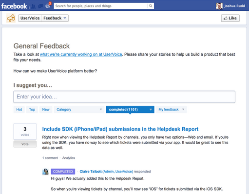 A Sample Screenshot of the UserVoice Feedback Facebook App