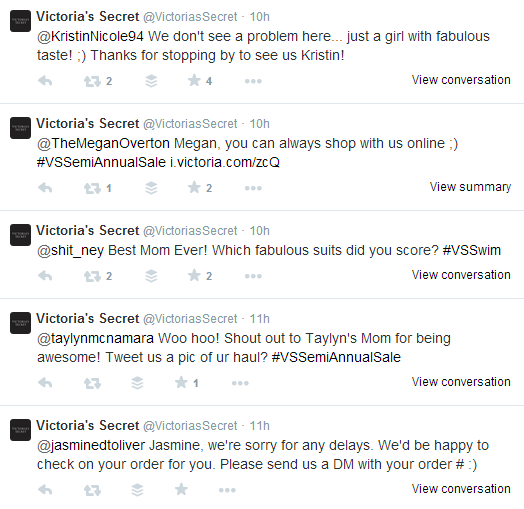 Victorias Secret Twitter Engagement With Customers