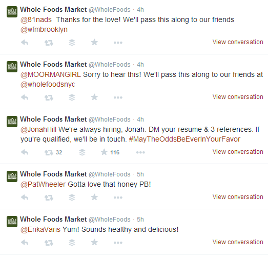 WholeFoodsMarket Twitter Engagement With Customers