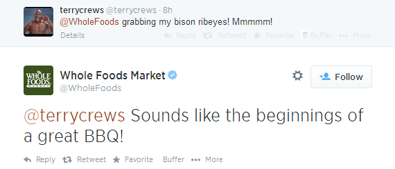 Example For A Light-Hearted Twitter Conversation With Customer By @WholeFoods