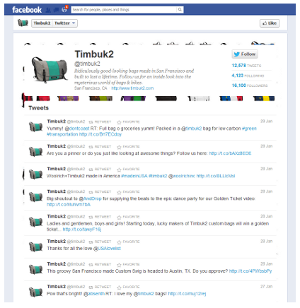A Sample Screenshot of the WooBox Twitter Tab App for Facebook