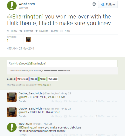 Example Of A Light-Hearted Twitter Conversation With Customer By Woot