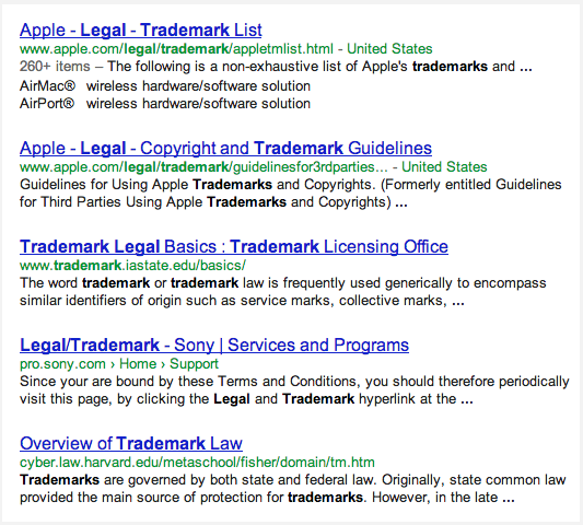 First-Page Search Results Demonstrating Clean URLs