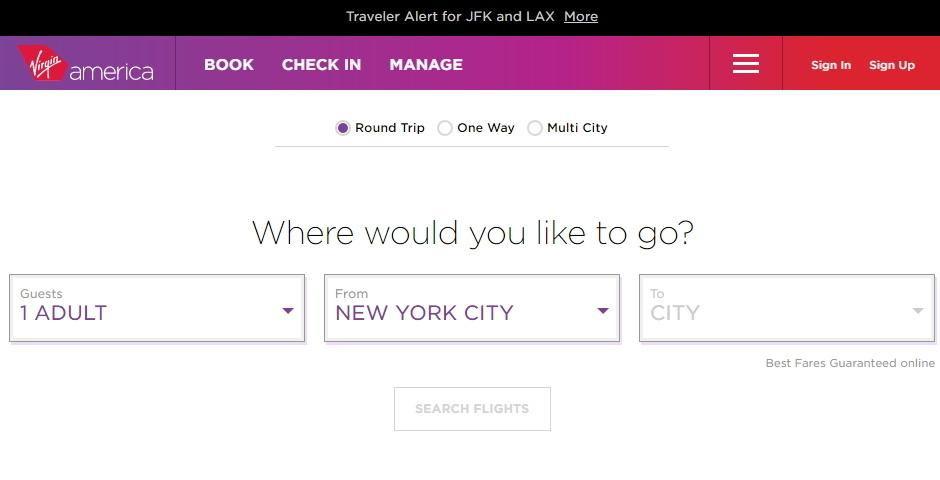 Virgin website ux experience