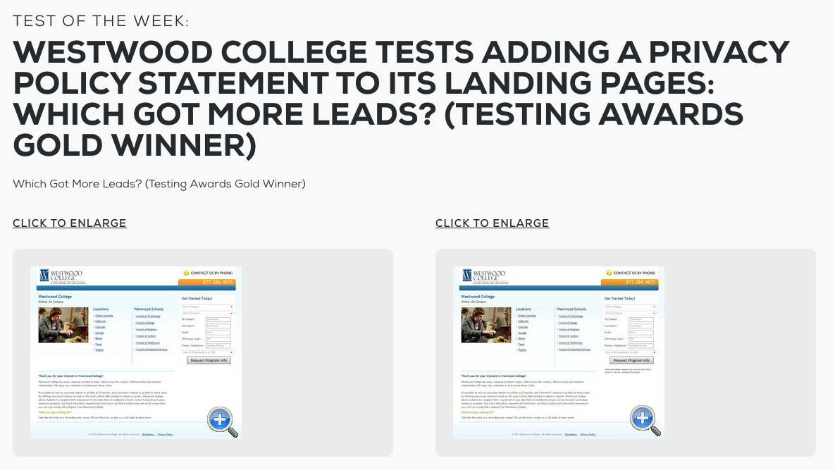 Westwood College privacy policy conversion test