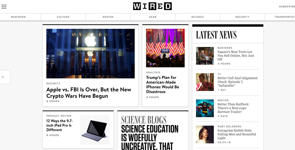 Wired website layout