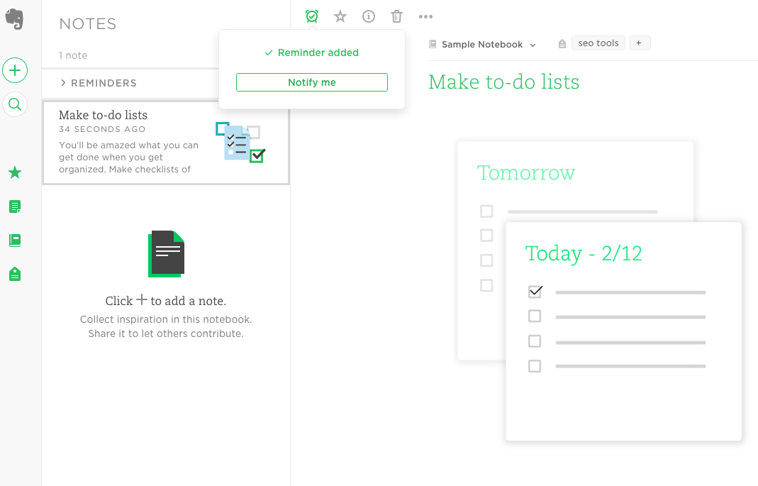 Evernote note organization