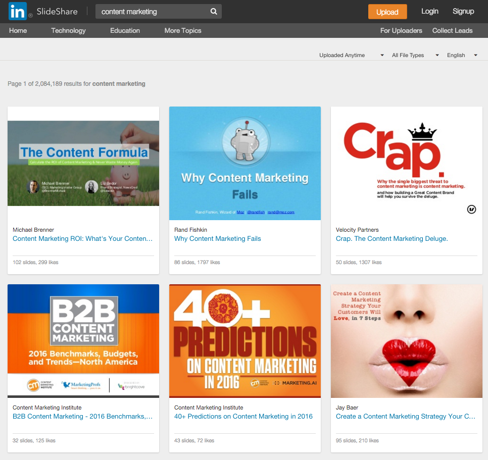 SlideShare has 18 million slideshows over 40 topics
