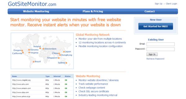 GotSiteMonitor uptime monitoring tool