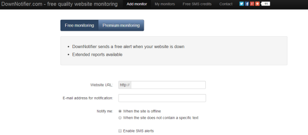 Downnotifier Free Uptime Monitoring Service