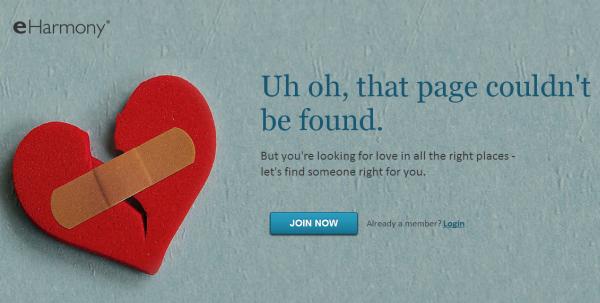 eHarmony 404 page