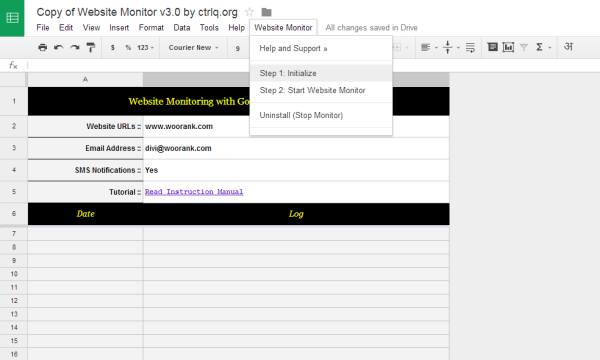 Google docs uptime monitoring feature