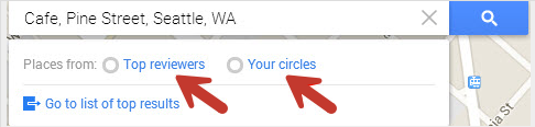 Google Maps search options