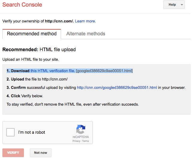 Verifying Google Search Console account via HTML file