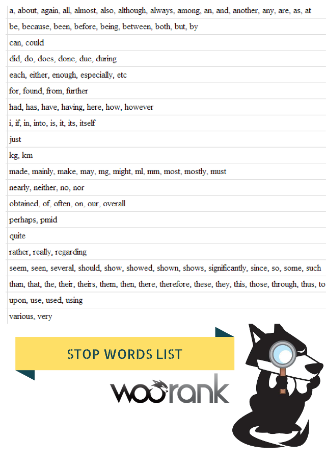 List of stop words