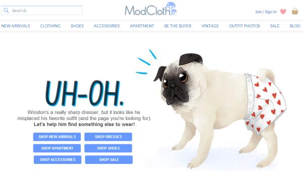 Modcloth 404 page
